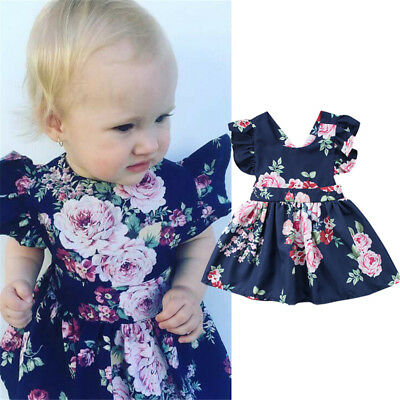 AU Newborn Kids Baby Girls Floral Backless Party Pageant Dress Sundress Clothes