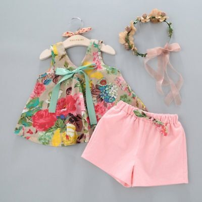 2pcs Toddler Baby Girl Clothes Bowknot Floral Vest + Shorts Summer Outfits Set