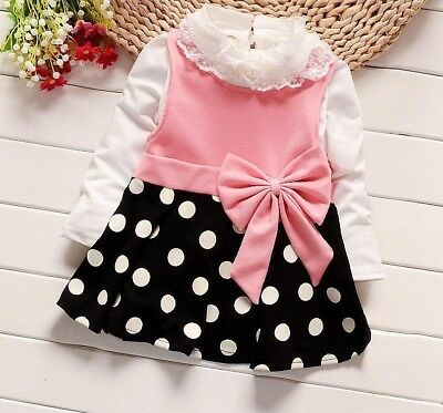b4ccbcd8e Baby Girls Dress Cotton Polka Dots Lace Bow Knot Design Casual Stylish Wears  New
