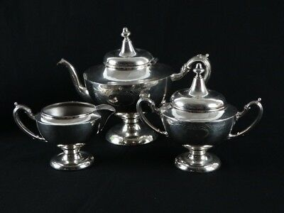 Antique c1900s USA Silver plate Teaset Anchor Silver Plate Co Etched Detail