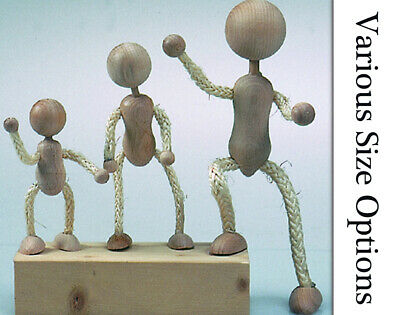 Wood & Rope Figures with Poseable Limbs to Decorate - 110mm to 230mm