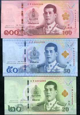 Thailand Set 3 Unc 20 50 100 Baht 2018 Matching Last 3-Digit Number P New