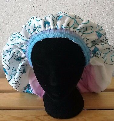 Sleep Lounge Lined Cap Embellished White, Blue and Pink Lined (Handmade)