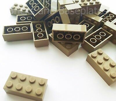 LEGO BRICKS 25 x DARK TAN 2x4 Pin - From New Sets Sent in a Clear Sealed Bag