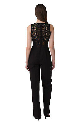 GUESS Jumpsuit Size S Lace Back Flat Front V Neck Made in Italy W64D83W8PZ0