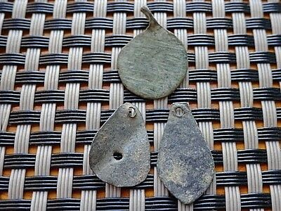 Lot Of 3 Authentic Late Roman Bronze Pendants Amulets Circa 300-500 Ad.