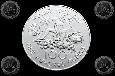 SEYCHELLES (FAO) 100 RUPEES 1981 (WORLD FOOD DAY) SILVER Comm. Coin (KM# 45) UNC