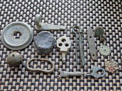 Lot Of 13 Authentic Roman And Byzantine Medieval Bronze Artifacts
