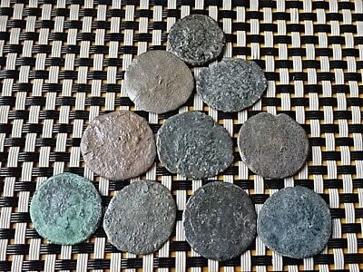 Lot Of 10 Ancient Roman Coins Follis And Antoninianus Unknown / Low Condition