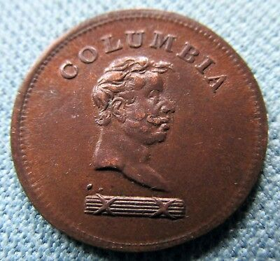 c.1800s Columbia Farthing Token Nice Old Great Britain Colonial Canada Copper #1