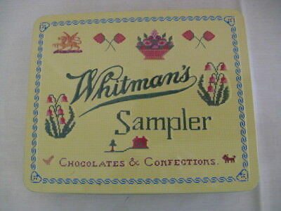 5th IN A SERIES WHITMAN'S SAMPLER NEEDLEPOINT FULL SIZED TIN WITH HINGED LID