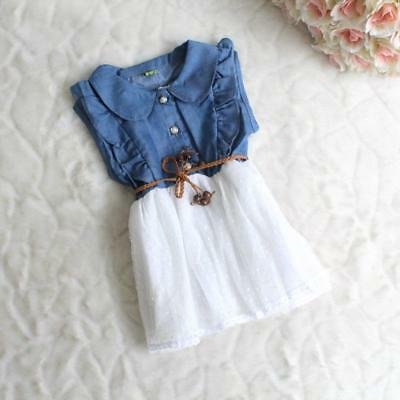 ca6c71427 Summer Denim Dress For Baby Girl Trendy High Quality Solid Cotton Mesh Wears  New