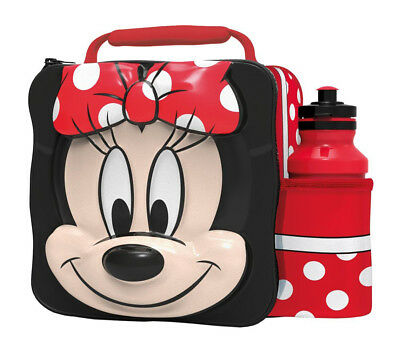3D Minnie Mouse Lunch Bag with Bottle Kids Children Insulated Thermal Food