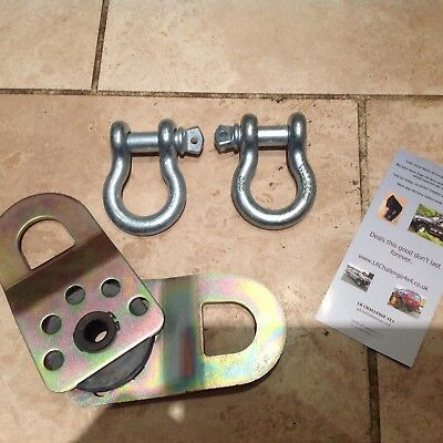 Heavy Duty Large D Shackles X2 And 1x Snatch Block Off Road Recovery Kit