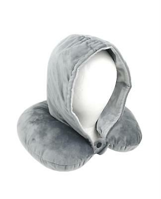 Adults Luxury Super Soft Feel Hooded Travel Pillow Plane Gift Cushion Head Rest