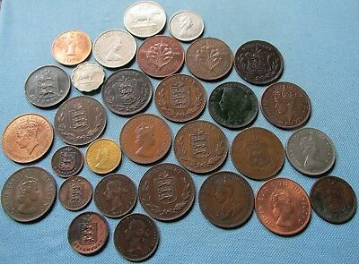 Lot 30 Old Coins - British Channel Islands Guernsey Jersey 1830-1989 Doubles etc