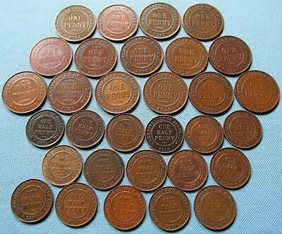 Lot 31 Old Coins Australia British King George V One Penny Half Penny 1911-1936