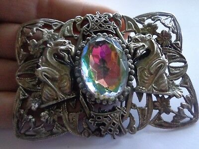 Antique Victorian Art Nouveau Early 1900's Ornate Griffin Glass Brooch As Is