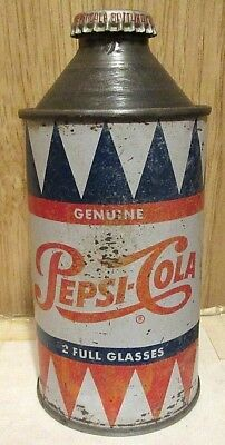 Rare Vintage 1952 Pepsi Cola Single Dot Cone Top Soda Pop Can