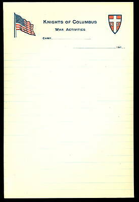 WWI KNIGHTS OF COLUMBUS WAR ACTIVITIES CAMP Stationary / Letterhead -KofC- BLANK