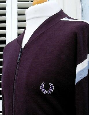 Fred Perry Mulberry Bold Tipped Wool Bomber Jacket - L/XL - Ska Mod Scooter