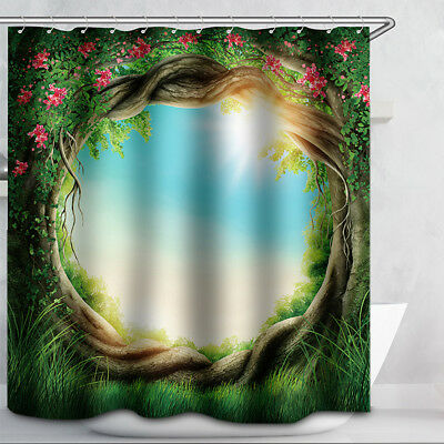 "71"" Waterproof Bathroom Shower Curtain 3D Circle Flower Pattern with 12 Hooks"