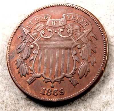 1869 Two Cent Piece (2 Cent) // Choice BU *red/brown* // (TC493)