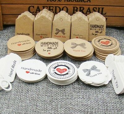 Craft Paper Tags 'HANDMADE WITH LOVE' & 'THANK YOU' Hand Made Gift Tags