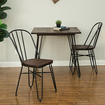 Glitzhome Set of 2 Industrial Steel Dining Side Chairs Wood Seat Kitchen Antique