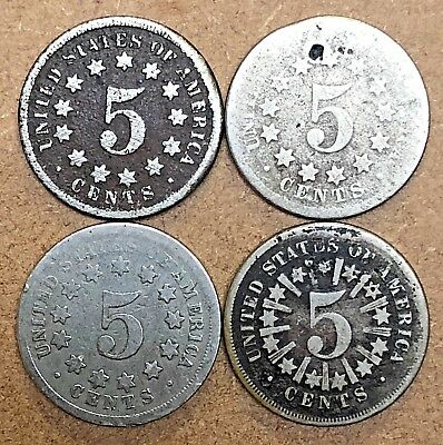 Lot Of (4) Shield Nickels - Including 1866 With Rays!