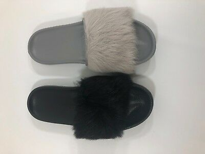 7521e73f727 UGG AUSTRALIA ROYALE Seal Grey Gray TOSCANA FLUFFIE SLIDE SLIPPERS ...