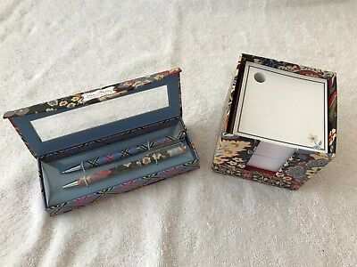 """Vera Bradley Pen and Pencil set """"Perfect Match"""" NEW in Box with Paper Cube"""