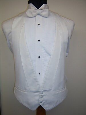 White Satin 3 Button Formal Vest With White Or Black Bow Tie Option