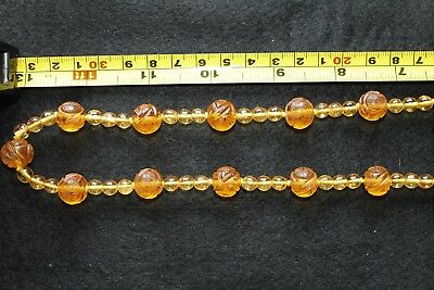 Antique Chinese Necklace Yellow Peking Glass Carved Shou beads & small beads