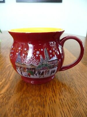 Christkindlmarket 2017 Collectible Red and Yellow Kettle Mug Naperville IL