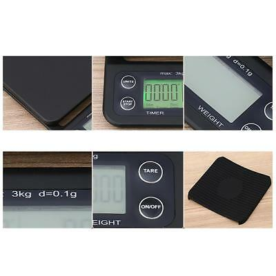 Kitchen Weighing Scale 3kg 0.1g Digital Drip Coffee Scale with Timer Black