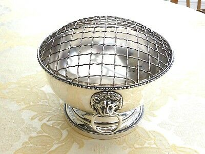 Vintage Silver Plated Rose Bowl With Lions Head Handles And Grille  1350469/475