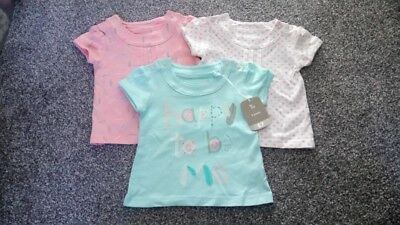 NEW Baby Girls x3 Summer Short Sleeved TOPS Age 0-3 months