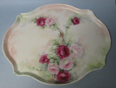 """Antique Hand Painted Large 15.75 """" Porcelain Tray / Platter  / Serving Plate"""