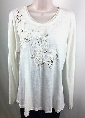 Sonoma Women's Ivory Embellished Knit Top Size Large Knit Bead