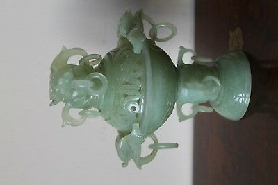 Chinese Jade censor and lid . Dragon mask finial and handles, nicely carved