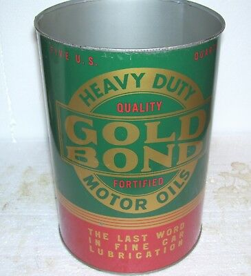 Gold Bond 5 quart  oil can - Warren Oil Co-- PA very nice both sides