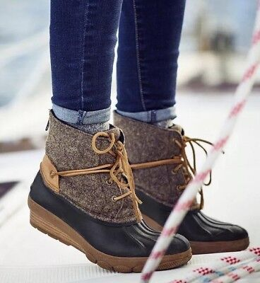 18a5c8bf97c WOMEN S SPERRY SALTWATER Wedge Tide Wool Duck Boot Brown Canteen Sz ...