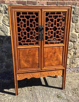Wooden Fretwork chinese cabinet Carved With Dragons