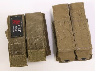 LOT (2X) LBT Double Pistol Magazine Pouches Belt & MOLLE Coyote Brown LBT-9013B