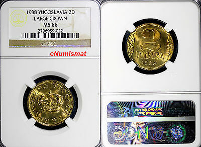 Yugoslavia  Petar II 1938 2 Dinara NGC MS66 LARGE CROWN 1 Year Type  KM# 20