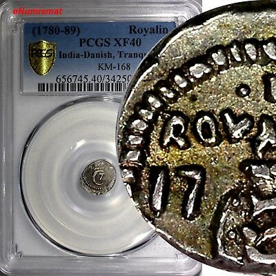 India-Danish Tranquebar Silver (1780-89) Royalin PCGS XF40 TOP GRADED COIN KM168