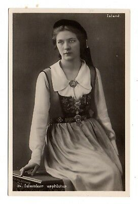 ICELAND, SEATED WOMAN IN COSTUME WITH JEWELRY, ARNASON REAL PHOTO PC c 1910-20's