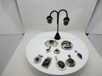 STERLING SILVER Black Onyx RESALE LOT!! 118 GRAMS WEARABLE JEWELRY Mexico