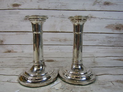 British Hallmarked Weighted Sterling Silver Matching Very Nice Candle Sticks